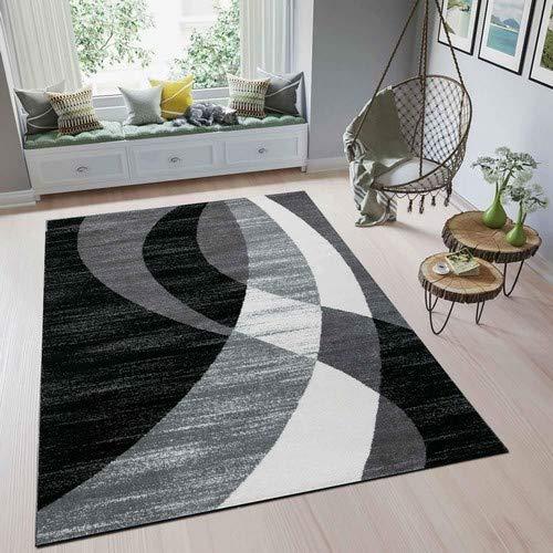 Schwarz Und Weiß Moderne Teppich (Teppich Modern Design Schwarz Grau Weiß Kurzflor Geschwungene Streifen Pflegeleicht Top Qualität 160x230 cm)