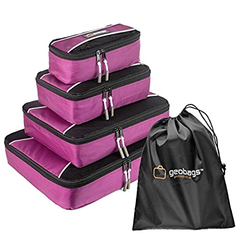 geobags® Premium Packing Cubes - Bag Packers Case Tidy – 5 Piece set - Shoe Bag – Fully Lined – Quality YKK Zippers – Small, Medium, Large & Extra Large (Pink)