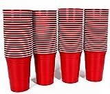 DealMagik Vasos de Plástico Desechables para Fiesta de 450 ml Rojo Americano - Paquete de 100