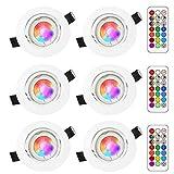 RGB LED Deckenstrahler Einbauleuchte,Sunpion 3W RGB Lampen Einbaustrahler Schwenkbar Deckeneinbaustrahler Einbauspot Spot Einbaustrahler Deckeneinbauleuchte Deckenspot (6Pack RGB+6000K Round)