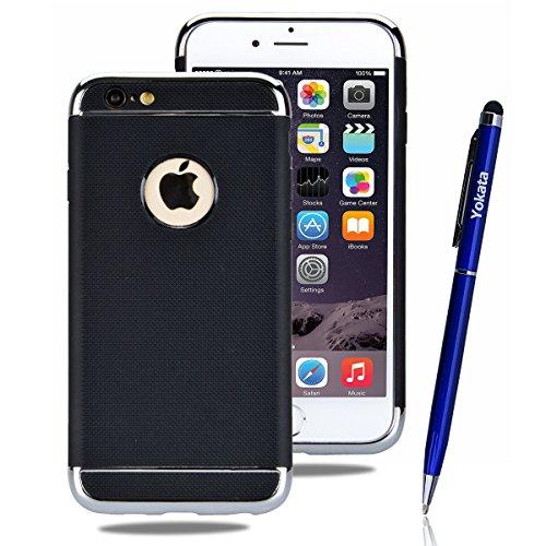 Coque iPhone 6 Plus/ iPhone 6S Plus, Yokata 2 in 1 Case Housse Étui Soft Doux TPU Silicone avec Amovible Bumper Flexible Backcover Ultra Mince Coque + 1*Stylet - Rouge D'or