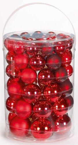 Inge-glas 15007E460 Kugelsortiment 60 Stück/ Vorteilsdose Ruby-Red-Mix 18x4 / 20x5 / 16x6 / 6x7 cm(rot,bordeaux,ochsenblut)