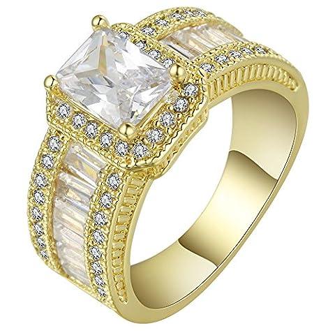 Smile YKK Bague Femme Cristal Anneau Or Jaune Bijoux Déguisement Fiançailles Mariage Rond Périmètre 59.5cm