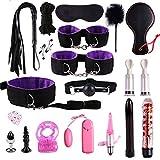 LWYJ 19 PZ Kit Giocattolo in Pelle Confezionato Set Legatura per Sexy Divertimento SM Avvolto in Rilegatura Sexy Divertente Coppia Manette Kit di Restrizioni,Purple