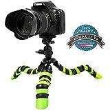 Topfroto 11.5 Inch Portable Bendable Flexible Tripod - Suitable For Canon Nikon Sony Panasonic DSLR Camera Camcorders Up To 5 Lbs (Black/Green)