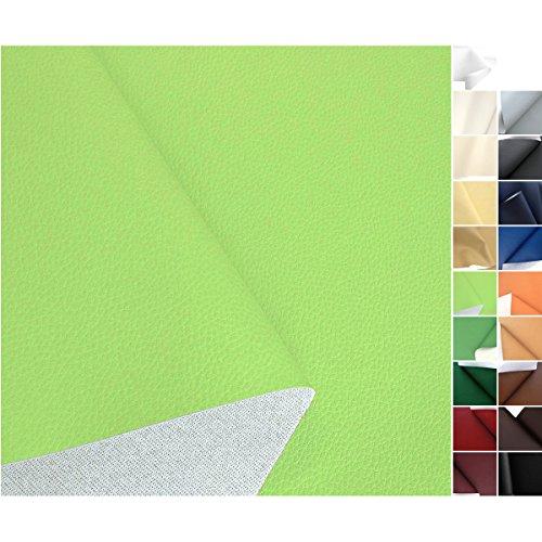TOLKO® Kunstleder Polsterstoff Meterware Hell-Grün als robuster PREMIUM Bezugsstoff, Möbelstoff (Helles Leder)