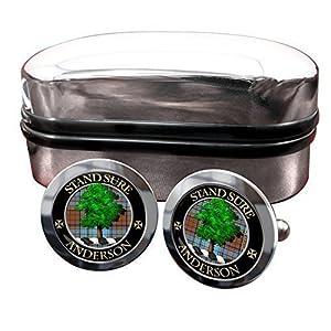 Anderson Clan Männer-Manschettenknöpfe mit Chrom-Geschenkbox