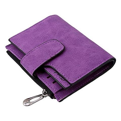 Albeey Women's Multi-card Position Two Fold Purse Zipper Wallet Handbag (purple)