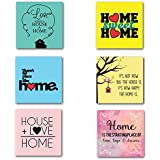 TYYC Diwali Gift Items Sweet Love Home Wooden Tea Coasters For Drinks Dining Table Set Of 6