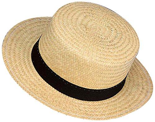 Boater Kostüm Stroh - Widmann Hut Schrubber mit Band schwarz