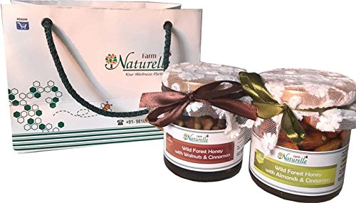 Farm Naturelle-Cinnamon Infused Pure Raw Natural Forest Honey With Big Delicious Almonds (Badaam) And Walnut-250...