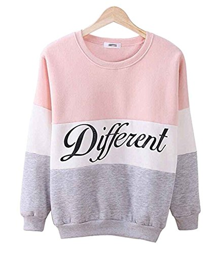 Sail-Dream Bekleidung-Sweatshirts Damen Sweatshirt Langarm Rundhals Pullover Modern Casual Farbspleißen Brief Drucken Mädchen Tops Pulli Oberteile