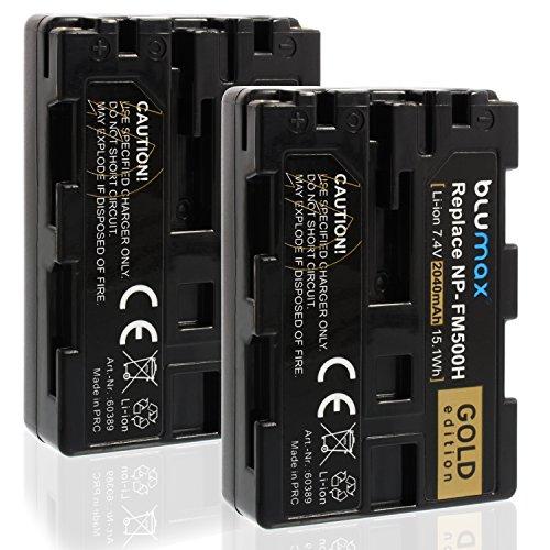 Blumax 2X Gold Edition Akku ersetzt Sony NP-FM500H (2040mAh) Akku kompatibel mit Sony Alpha DSLR/SLT Serie EVO II a57 a58 a68 a77/ ii a99 / ii