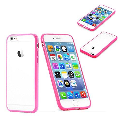 """Invero® Slim Fit Effacer PU Retour en plastique avec couvercle pare-chocs en caoutchouc TPU Rim Case Pour Apple Iphone 6 4.7"""" et Iphone 6 Plus 5.5"""" (Iphone 6 4.7"""", Pink/Rose) Pink/Rose"""