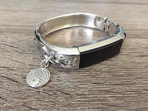 Silber Metall Band für Fitbit Alta & Alta HR Fitness Activity Tracker Blumen Design Jewelry Fitbit Alta/Alta HR Armband mit Silber Yin Yang Spirituelle Charm Zubehör Armreif
