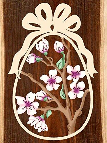 Fensterbild Ostern Kirschblüten - Ei - beidseitig coloriert - Holz ca. 23cm