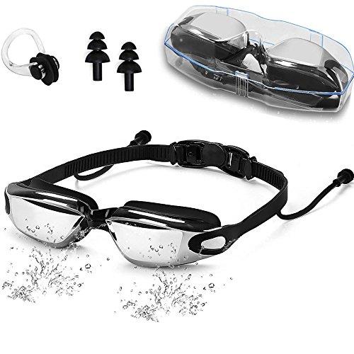 Xnature Gafas De Natación De Marco Amplio, Gafas para Nadar Gafas De Natación Antigoteo, Antiniebla Y Protección UV para Hombres, Mujeres, Adultos, Jóvenes Y Niños +Tapones para Los Oídos&Clip