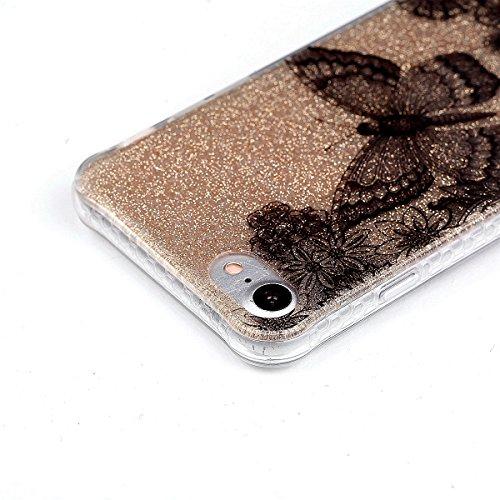 iPhone 7 Hülle (4,7 Zoll), Sunroyal® Weiche TPU Rahmen mit PC Rückdeckel Schutzhülle Bumper Case Hülle ,Ultra Slim Semitransparent Hybrid Bling Glitter Gel Silikon Zurück Buntes Muster Kratzfest Anti- Schmetterling