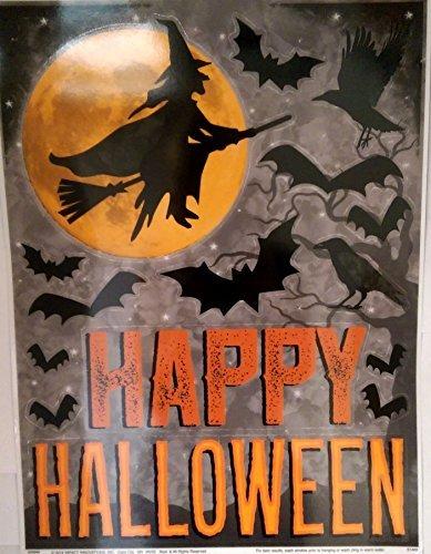 Impact Halloween Fenster klammert Sich an Geheimnisvolle Hexe Silhouette, Fledermäuse und Happy Halloween