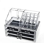 Acrylic Cosmetic Organizer Makeup Holder Display Jewelry Storage Case 4 Drawer For Lipstick Liner Brush Holder