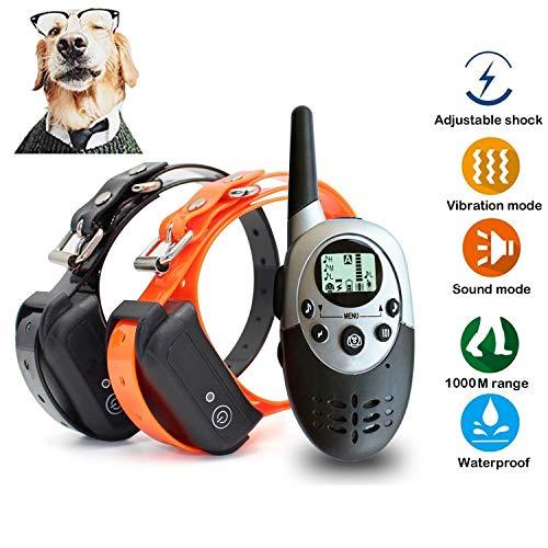 JJOBS Collar de Adiestramiento Para Perros, Impermeable y recargable 1000 Metros con vibración y sonido modos,humanizado, Para 2 Perros