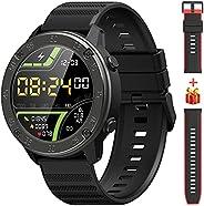 IOWODO Smartwatch, 1,3'' Touch Schermo Orologio Fitness Uomo Donna con 2 Cinturino in Silicone, Imperm