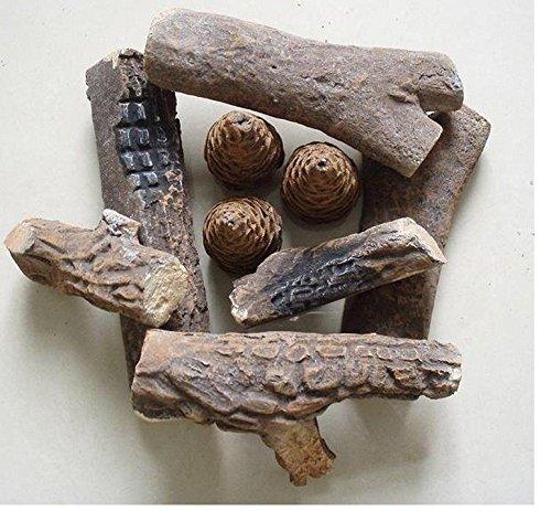 Juego de chimenea de bioetanol con leña decorativa de cerámica