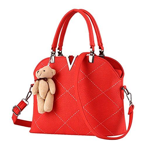 Donne Pure Color Pelle Sintetica Semplice ed Elegante Borsa a Tracolla Pacchetto di Diagonale Gomma Rosa Rosso