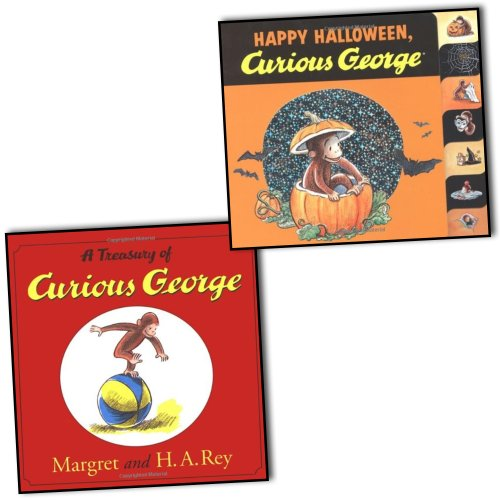 H. A. Rey Margret Rey Curious George 2 Books Collection Pack Set RRP: £18.98 (A Treasury of Curious George, Happy Halloween Curious - Happy George Curious Halloween,