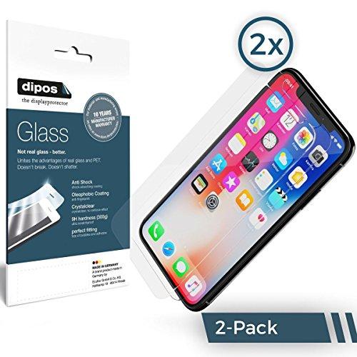 Apple iPhone X Schutzfolie - 2x dipos Glass Panzerfolie 9H Folie Kunststoffglas