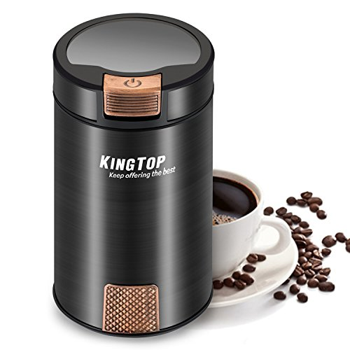 KINGTOP Coffee Grinder Electric 200W Stainless Steel Blade Grinder for Coffee Bean Seed Nut Spice Herb Pepper [2 Years Warranty] … 51kl0WhKTnL