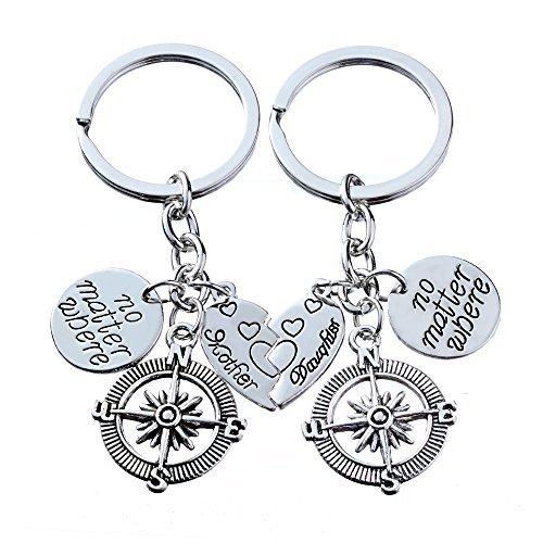 2pcs Mutter Tochter Schlüsselkette gesetzt keine Materie, wo Kompass Split gebrochenes Herz Familie Geschenk für Frauen Mädchen (Mutter Und Tochter-geschenk-sets)