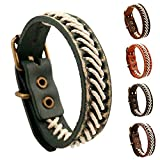 AZUO Männer Und Frauen Echte Leder-Armbänder, Männer Und Frauen General Urpose Manual Leather Adjustable Armband-Cuff Weave Wristband (5 Farben),Retrogreen