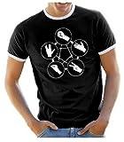 Coole-Fun-T-Shirts Herren T-Shirt Big Bang Theory Schere Papier Stein Echse Spock, schwarz-weiss, L, 10823_HERI_schwarz_WEISS_GR.L