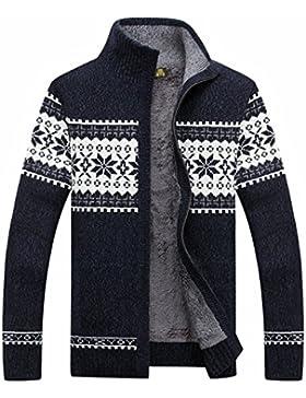 PDFGO Jerseys Para Hombres Prendas De Punto Suéteres Cardigans Ropa De Cama Para Hombres Terciopelo Invierno Espesar...