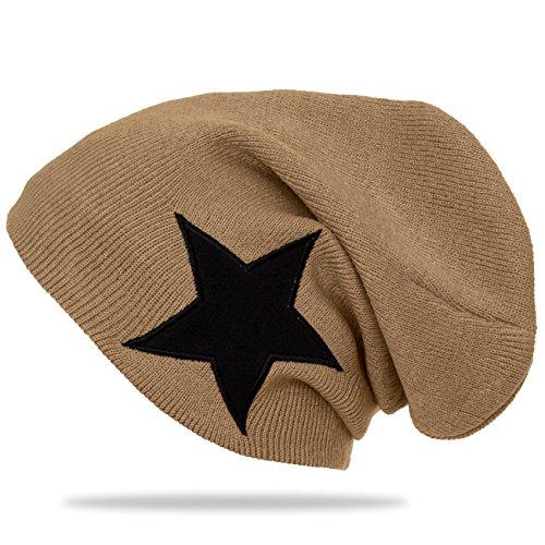 CASPAR - Bonnet en tricot fin classique unisexe - Slouch Beanie avec étoile - plusieurs coloris - MU094 Camel