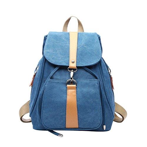 BAAFG Vintage Tasche Leder Handgefertigt Vintage Style Rucksack College Bag,Blue-OneSize - Handgefertigtes Leder-rucksäcke