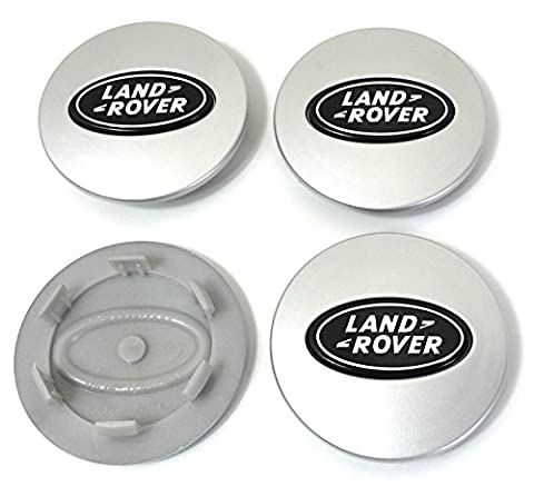 Set Of 4 LAND ROVER Silver Black Logo 63mm Alloy Wheel Badge Center Hub Centre Caps Evoque Sport Vogue Hse Hst Supercharged Autobiography Discovery Freelander Defender amongst