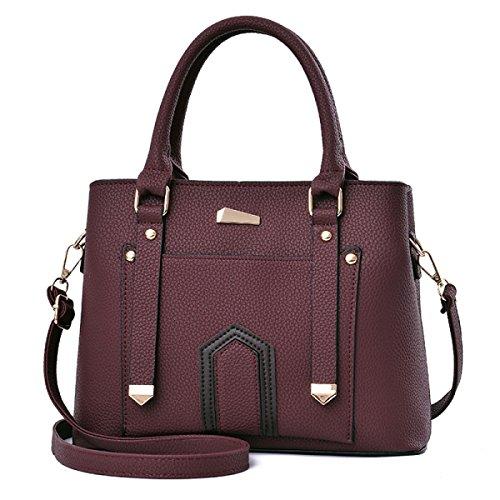 Frauen PU Leder Schulter Messenger Bag Europäischen Und Amerikanischen Stil Mode Trend Handtasche Casual Wild Damen Tasche,Red-OneSize (Bestickt Handtasche Leder)