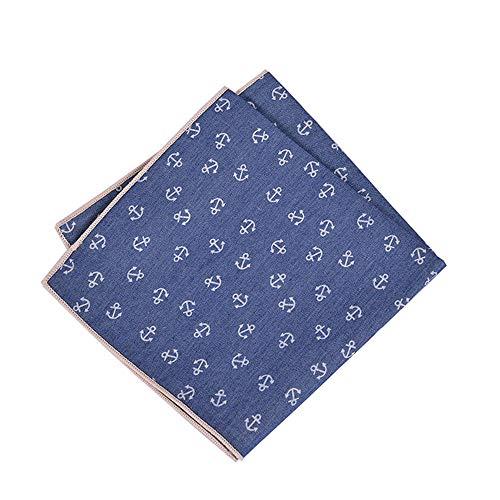 YJiaJu Mode Baumwolle Druck Taschentuch Tasche Freizeit Anker Blume Handtuch Platz Schal Für Männer (Color : Multi-colored, Size : 25cm/9.8in) -