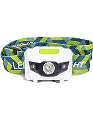 Linterna frontal LED - Ideal para camping, excursiones, pasear con el perro y para niños. Una de las linternas frontales más ligeras (73 gr). La mejor linterna. Resistente al agua y a los golpes, con luz estroboscópica roja. Incluye tres pilas alcalinas AAA.