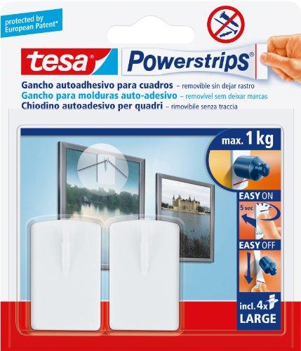 Tesa TE58031-00021-01 Soporte blanco para cuadros + 4 tiras grandes (max. 1Kg), Standard