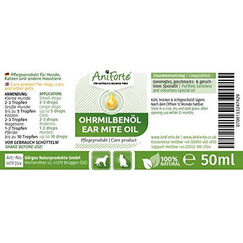 AniForte Ohrmilbenöl 50 ml bei Ohrmilben- Naturprodukt für Hunde, Katzen und andere Haustiere - 2