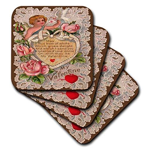 e Valentine Designs–Vintage My Valentine Amor–Untersetzer, keramik, set-of-4-Ceramic ()