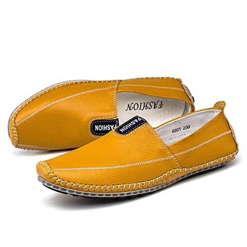 AFFINEST Herren Leder Slipper Loafer fahren Schuhe Casual Boot Schuhe Gelb