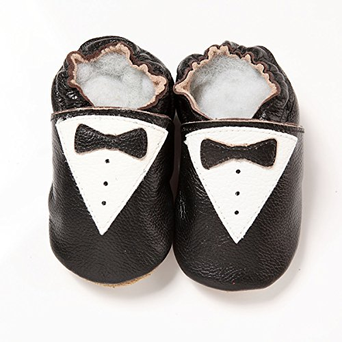 Soft Leather Baby Boys Shoes BLACK BOW TIE 6-12 Months