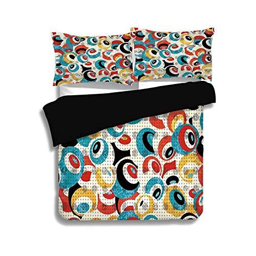 Schwarzer Bettbezug-Set, Psychedelic, Retro-Thema Kreis Muster Evil Eyes Design Techno Trance Design Kunstdruck, mehrfarbig, dekorativ 3-teiliges Bettwäscheset von 2 Pillow Shams, KÖNIGIN / VOLLE Größ