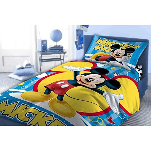Sacco Copripiumino Cotone Singolo Una Piazza 140x200 Cm Federa 70x90 Cm Disney Mickey Mouse Topolino