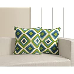 ShalinIndia Cotton Indian Printed Cushion Pillow Covers - Set of 2 - 18 inches by 18 inches - Perfect for Bedroom - Machine Washable