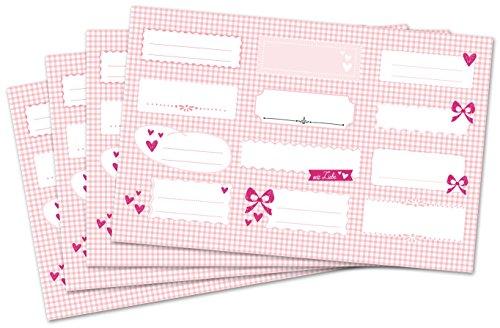 Kigima 48 edle Aufkleber Sticker Klebe-Etiketten Leer 7x3cm rechteckig rosa Karo-Look perfekt für Geschenke, Hochzeit oder Tischdeko Leer Eingelegte Gläser
